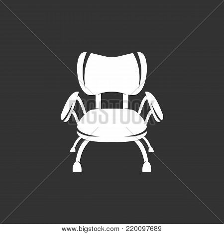 Chair icon isolated on black background. Chair vector logo. Flat design style. Modern vector pictogram for web graphics - stock vector