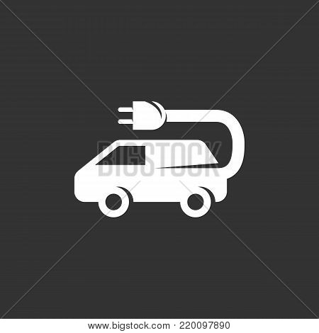 Electric car icon isolated on black background. Electric car vector logo. Flat design style. Modern vector pictogram for web graphics - stock vector