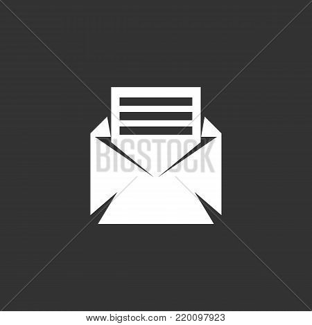 Open envelope mail icon isolated on black background. Open envelope mail vector logo. Flat design style. Modern vector pictogram for web graphics - stock vector