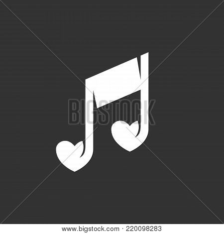 Love music icon isolated on black background. Love music vector logo. Flat design style. Note vector pictogram for web graphics - stock vector