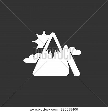 Mountains peak icon isolated on black background. Mountains peak vector logo. Flat design style. Modern vector pictogram for web graphics - stock vector