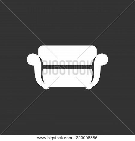 Sofa icon illustration isolated on black background sign symbol. Sofa vector logo. Modern vector pictogram for web graphics - stock vector