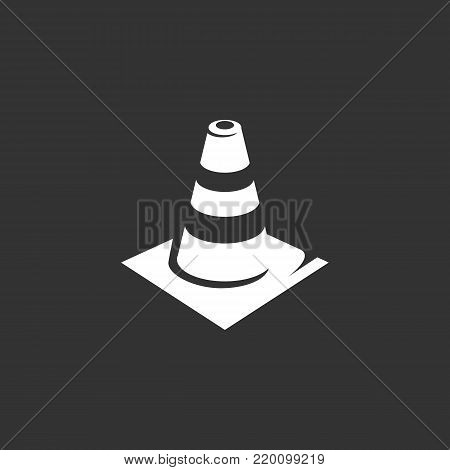 Traffic cone icon illustration isolated on black background sign symbol. Traffic cone vector logo. Modern vector pictogram for web graphics - stock vector