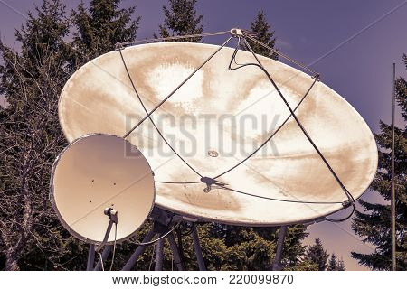 Two Big Satellite Dish Outdoor