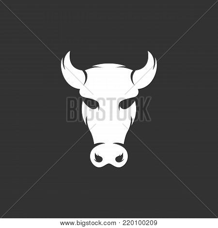 Cow icon illustration isolated sign symbol. Cow vector logo. Flat design style. Modern vector pictogram for mobile and web design - stock vector