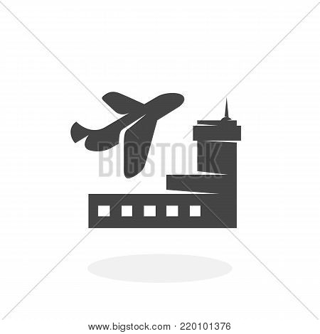 Airport icon illustration isolated on white background sign symbol. Airport vector logo. Flat design style. Modern vector pictogram for web graphics - stock vector