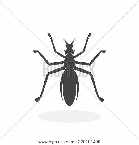 Ant icon illustration isolated on white background sign symbol. Ant vector logo. Flat design style. Modern vector pictogram for web graphics - stock vector