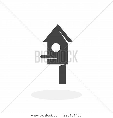Bird house icon illustration isolated on white background sign symbol. Bird house vector logo. Flat design style. Modern vector pictogram for web graphics - stock vector