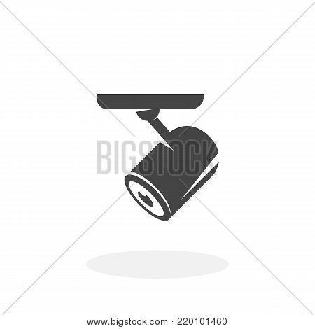 Security camera icon illustration isolated on white background sign symbol. Security camera vector logo. Flat design style. Modern vector pictogram for web graphics - stock vector