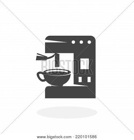 Coffee machine icon illustration isolated on white background sign symbol. Coffee machine vector logo. Flat design style. Modern vector pictogram for web graphics - stock vector