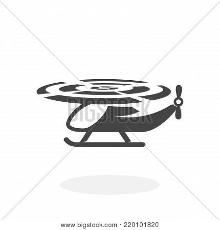 Helicopter icon illustration isolated on white background sign symbol. Helicopter vector logo. Flat design style. Modern vector pictogram for web graphics - stock vector