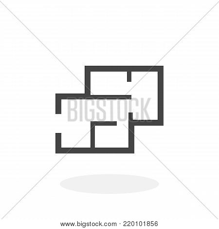 House plan icon illustration isolated on white background sign symbol. House plan vector logo. Flat design style. Modern vector pictogram for web graphics - stock vector