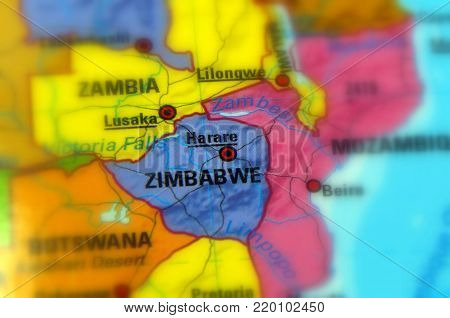 Zimbabwe, officially the Republic of Zimbabwe (selective focus)