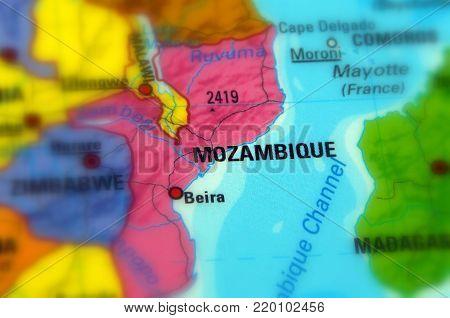 Mozambique, officially the Republic of Mozambique (selective focus)