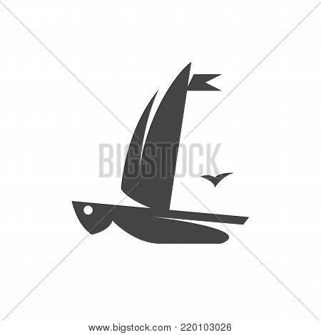 Sailing ship icon on white background. Sailing ship vector logo illustration isolated sign symbol. Yacht pictogram for web graphics