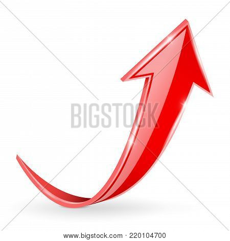 Red UP arrow. Vector 3d illustration isolated on white background
