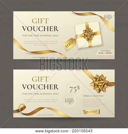 Vector set of luxury gift vouchers with golden ribbons, bows and gift box. Elegant template for holiday gift card, coupon and certificate with beige background. Isolated from the background.