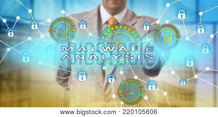 Unrecognizable computer security incident manager investigating malicious software attack perpetrated on portable device. Information technology concept for malware analysis, compromise extraction. poster