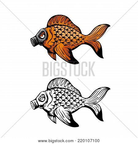 Fish in a gas mask vector illustration. Ecological problems. Hand drawn sketch