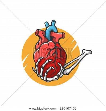 Heart in the hand of a skeleton vector illustration. Valentine's Day. For the design of prints, tattoos, stickers, logos