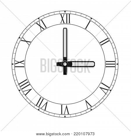 Clockface with roman numerals. Black flat icon. Vector illustration isolated on white background
