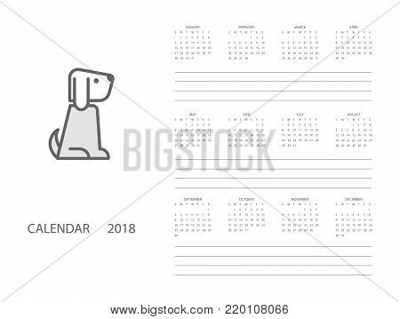 calendar for 2018 year on white background 2018 chinese new year of dog monthly