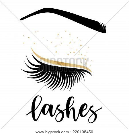 Lashes lettering. Vector illustration of lashes. For beauty salon, lash extensions maker, brow master.