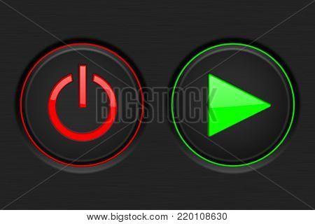 Black round buttons Power and Play round buttons on black background. Vector 3d illustration