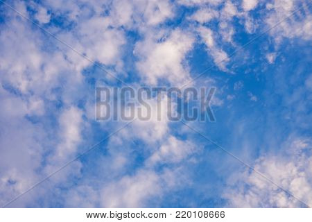 Beautiful blue cloudy sky  fluffy cloudy sky background