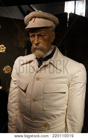 30.12.2017 Wax statue Tomáš Garrigue Masaryk, was the Czech statesman, philosopher and educator, the first president of the Czechoslovak Republic. in a museum of wax figures in the Czech Republic in the capital city of Prague