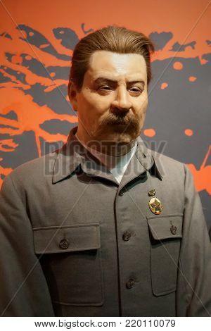 30.12.2017 wax statue politician Josif Vissarionovich Stalin in a wax statue museum in the Czech Republic in the capital city of Prague