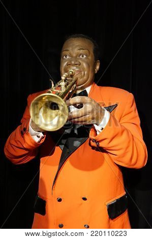 30.12.2017 Wax Statue Louis Daniel Armstrong - also known as the Pops and Satchmo nicknames, was the famous American jazz trumpeter and singer in the Wax statue museum in the Czech Republic in the capital Prague
