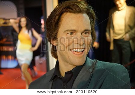 30.12.2017 actor wax figurine Jim Carrey in a wax statue museum in the Czech Republic in the capital Prague