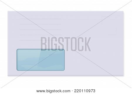 White blank envelope with address window. Vector 3d illustration isolated on white background