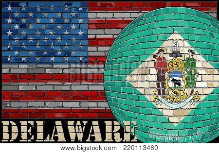 Delaware flag on the USA flag background - Illustration,  Ball with Delaware flag