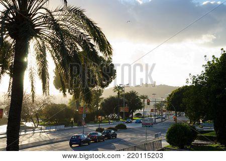 PALMA de MALLORCA. 23rd December 2017. View along Avinguda de Gabriel Roca towards Castell de Bellver. The city is an attractive place to visit even in winter.
