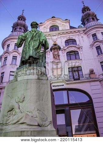 VIENNA, AUSTRIA - OCTOBER 15, 2005: Statue of Johannes Gutenberg made by Jerzy Plecnik and Othmar Shimkovitz in Vienna on October 15, 2005.