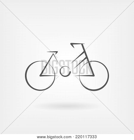 Modern vector logo for bicycle isolated on white. Design concept for eco tourism and bicycle shop in line style. bicycle angular concept. Line icon in flat style