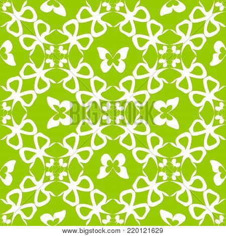 vector seamless texture with butterfly pattern on green background