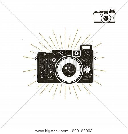 Hand drawn vintage camera label with sunbursts. Old style camera icon isolated on white background. Good for tee shirt, clothing prints, mugs, travel pennant designs. Stock