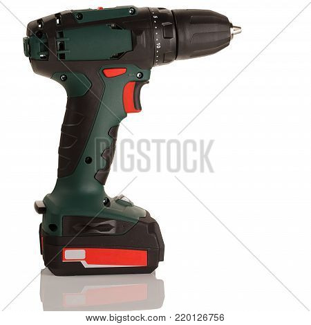 battery drill screwdriver on white background with reflection