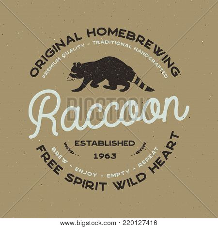 Wild animal badge with Raccoon and typography elements. Beer Logo templates for brewing company. Stock vector beer house label, emblem with letterpress effect