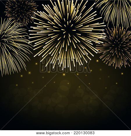 Firework gold sparkle background card. Beautiful bright fireworks isolated on black background. Light golden decoration firework for Christmas card, New Year celebration Vector illustration