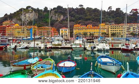 NICE, FRANCE - APRIL 2015: Colorful boats in the port of Nice, Cote d'Azur, French Riviera, France.
