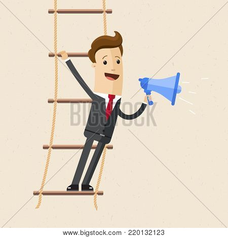 Businessman stand s on rope ladder and speak through a loudspeaker. Vector, illustration, flat