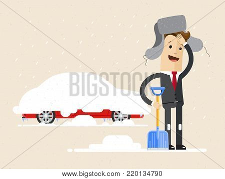 Businessman digs car out of snow. Winter. Vector, illustration, flat