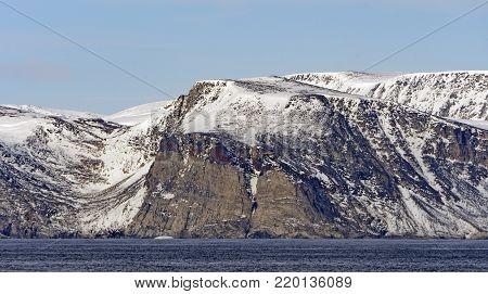 Barren Cliffs in the High Arctic on Baniff Island in Nunavut Canada