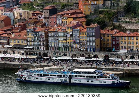 Porto, Portugal, August 16, 2017: View of Porto and the Douro River from the Dom Luis I Bridge