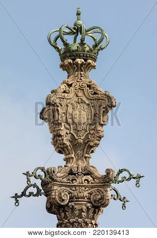 Manueline style pelourinho,  bearing the king's coat of arms, located in front of the Porto Cathedral, used for punishment by public humiliation until the 19th century.