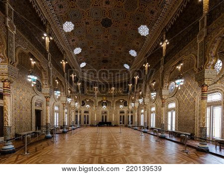 Porto, Portugal, August 15, 2017: Arab Room in the Bolsa Palace, built between 1862 and 1880 by Goncalves e Sousa in the exotic Moorish Revival style, inspired by the Alhambra Palace in Spain.